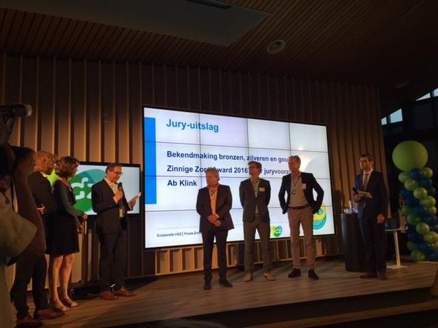 Bronzen winnaar Zinnige Zorg Award 2016
